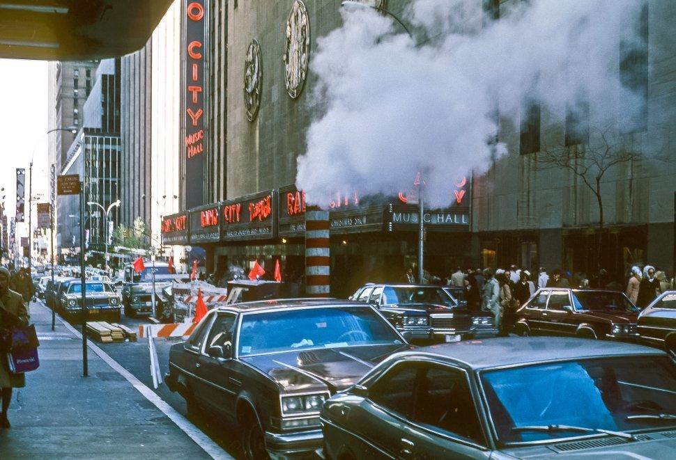 Free image of Facade and neon signs of Radio City Music Hall, New York, New York, USA