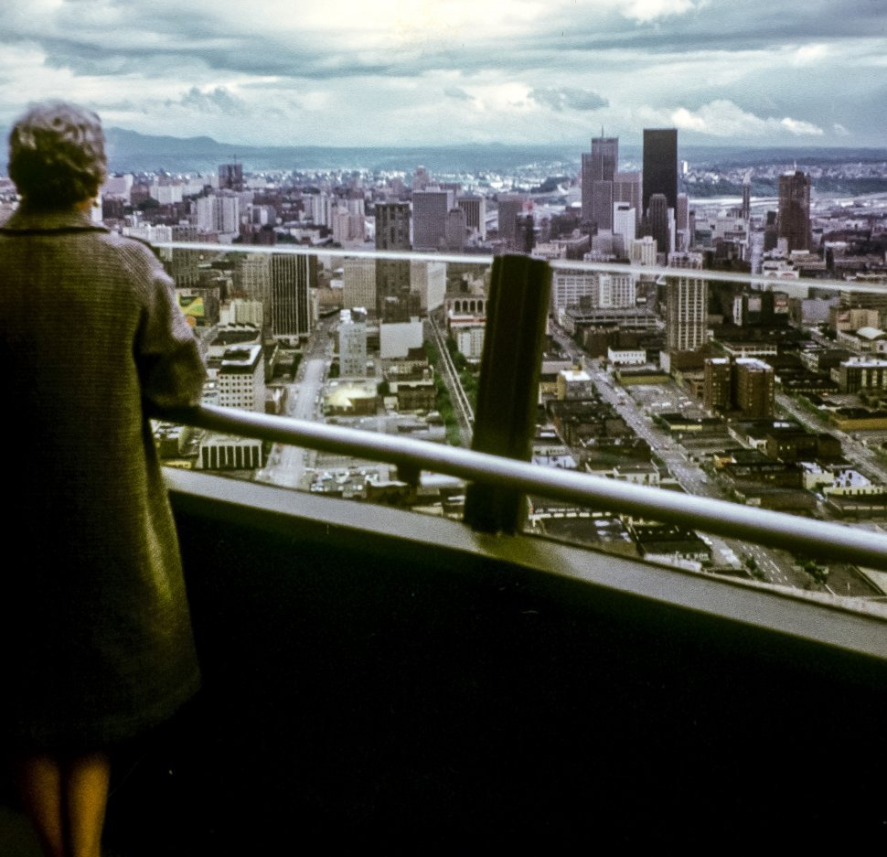 Free image of Woman looking out at the skyline of a city.