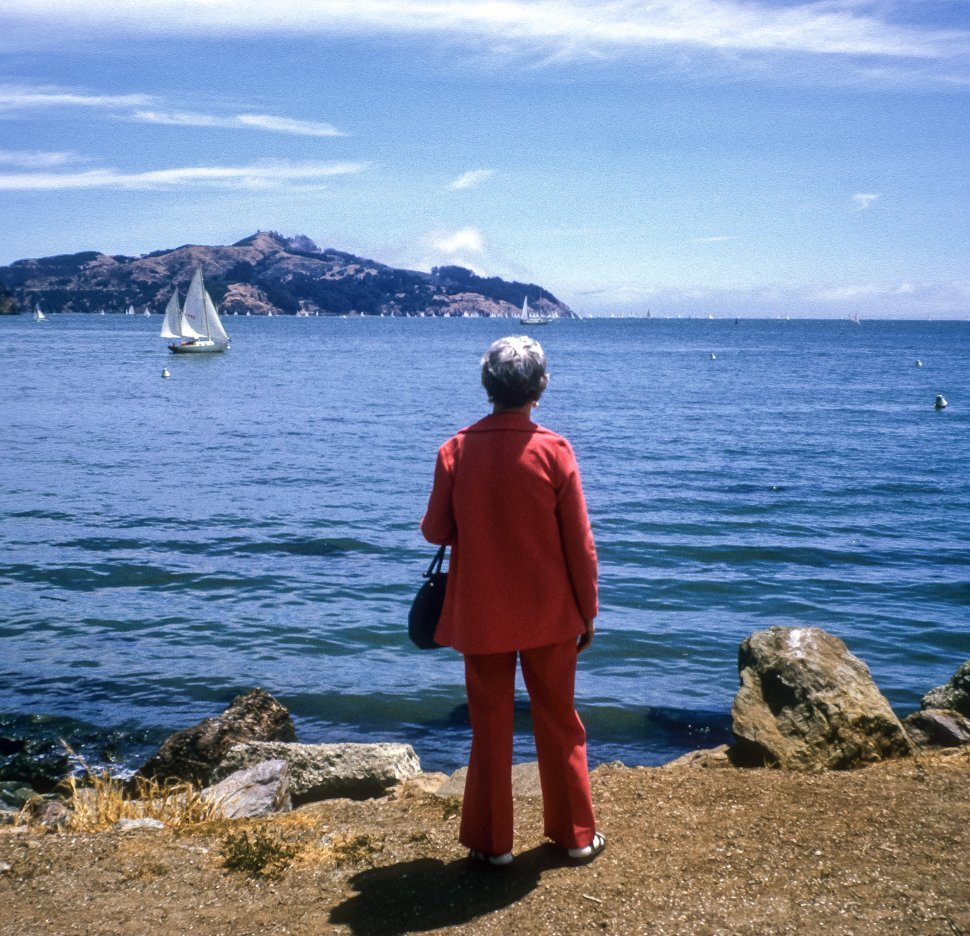 Free image of Woman looking out at the boats in San Francisco Bay, San Francisco, California, USA