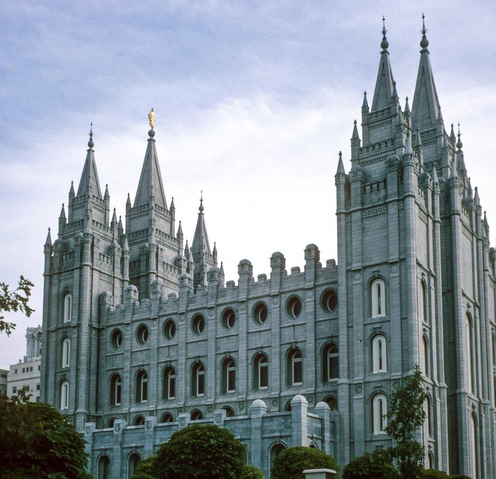 Free image of Facade and towers of the Salt Lake City Mormon Temple, Salt Lake City, Utah, USA