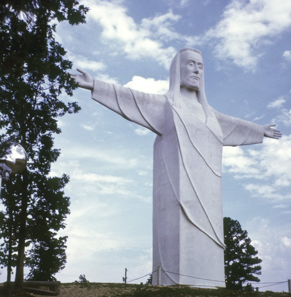 Free image of White stone statue of Christ with arms outstretched, USA