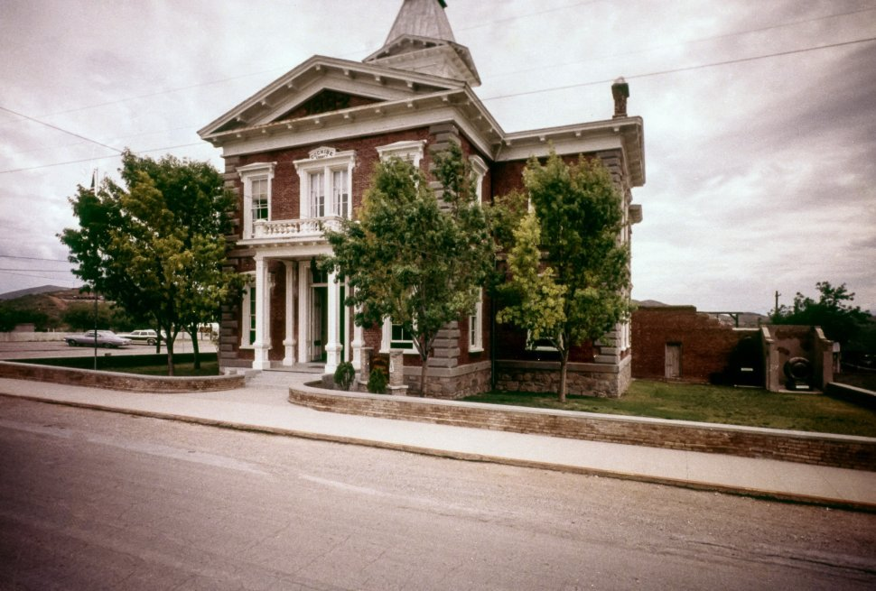 Free image of Brick Tombstone, Arizona courthouse with classical columned architecture, USA