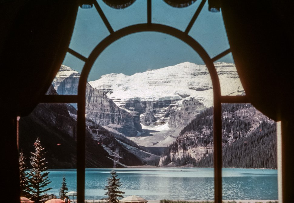 Free Vintage Stock Photo Of Lake Louise Chateau View