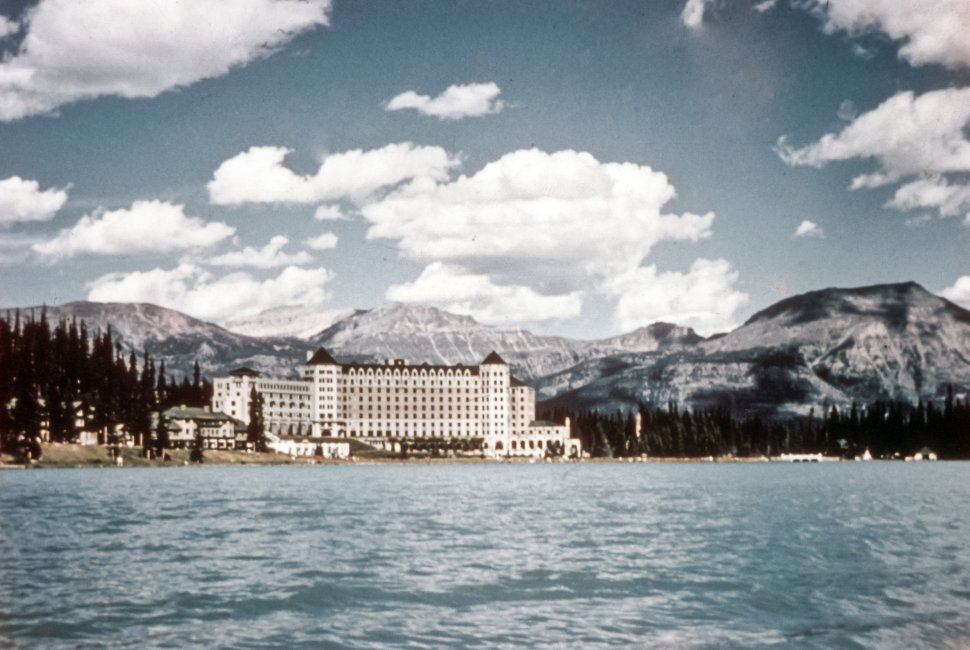 Free image of Lake Louise Chateau on the shore of the lake, Canada