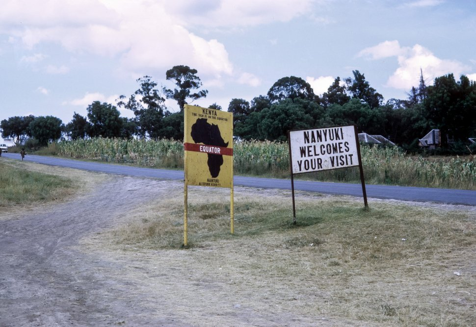 Free image of Sign for the African village Nanyuki, Kenya, Africa