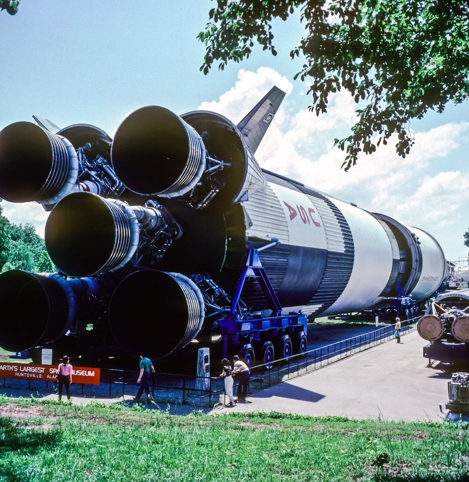 Free image of Tourists walking around one of the Nasa Saturn V rockets, Huntsville, Alabama, USA