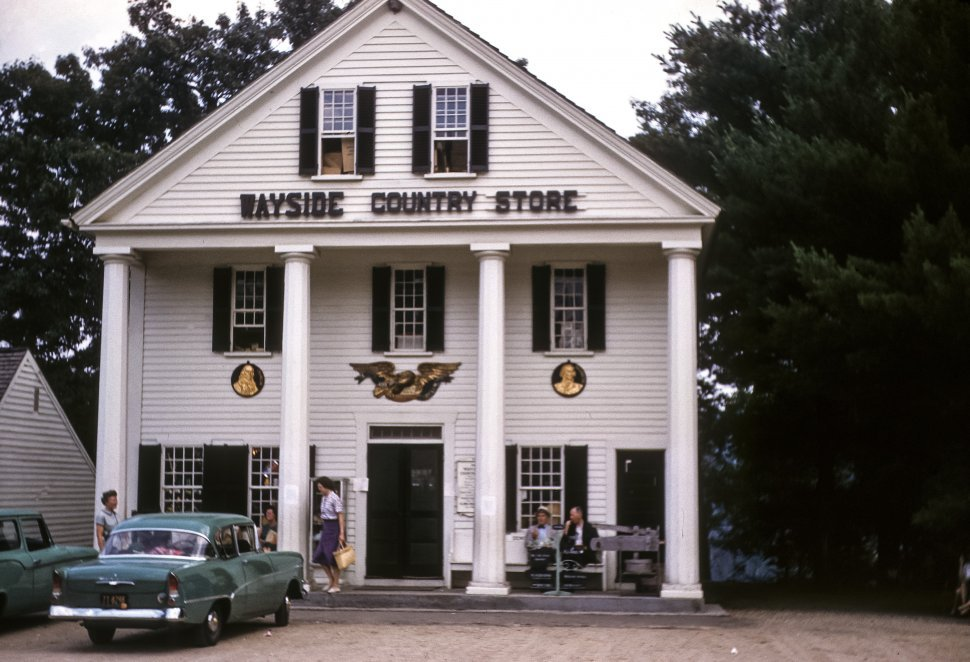 Free image of Customers in front of a quaint country store with vintage cars parked in front, Marlborough , Massachusetts, USA