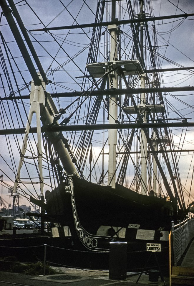 Free image of The bow, masts, and ropes of an antique ship, USA