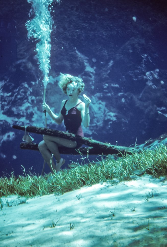 Free image of One woman performing in an underwater Weeki Wachee mermaid show, Florida, USA