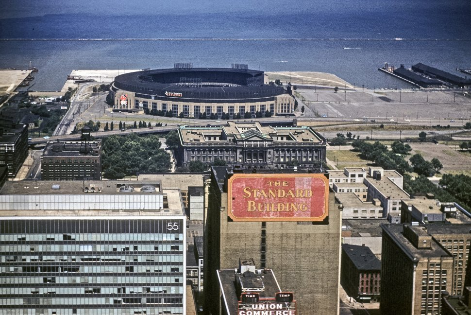 Free image of Aerial view of the streets, buildings and stadium of Cleveland, Ohio, USA