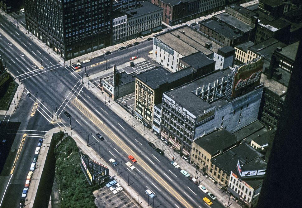 Free image of Aerial view of the streets of a Cleveland, Ohio, USA.