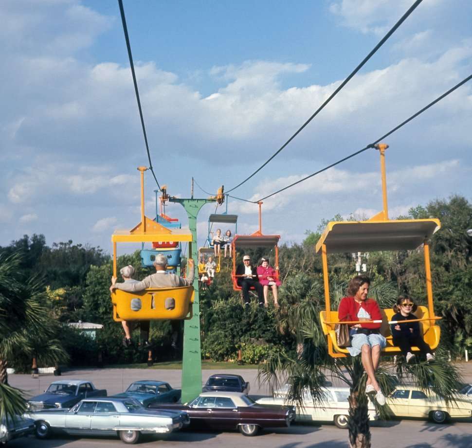Free image of Tourists riding a tramway at an amusement park, USA