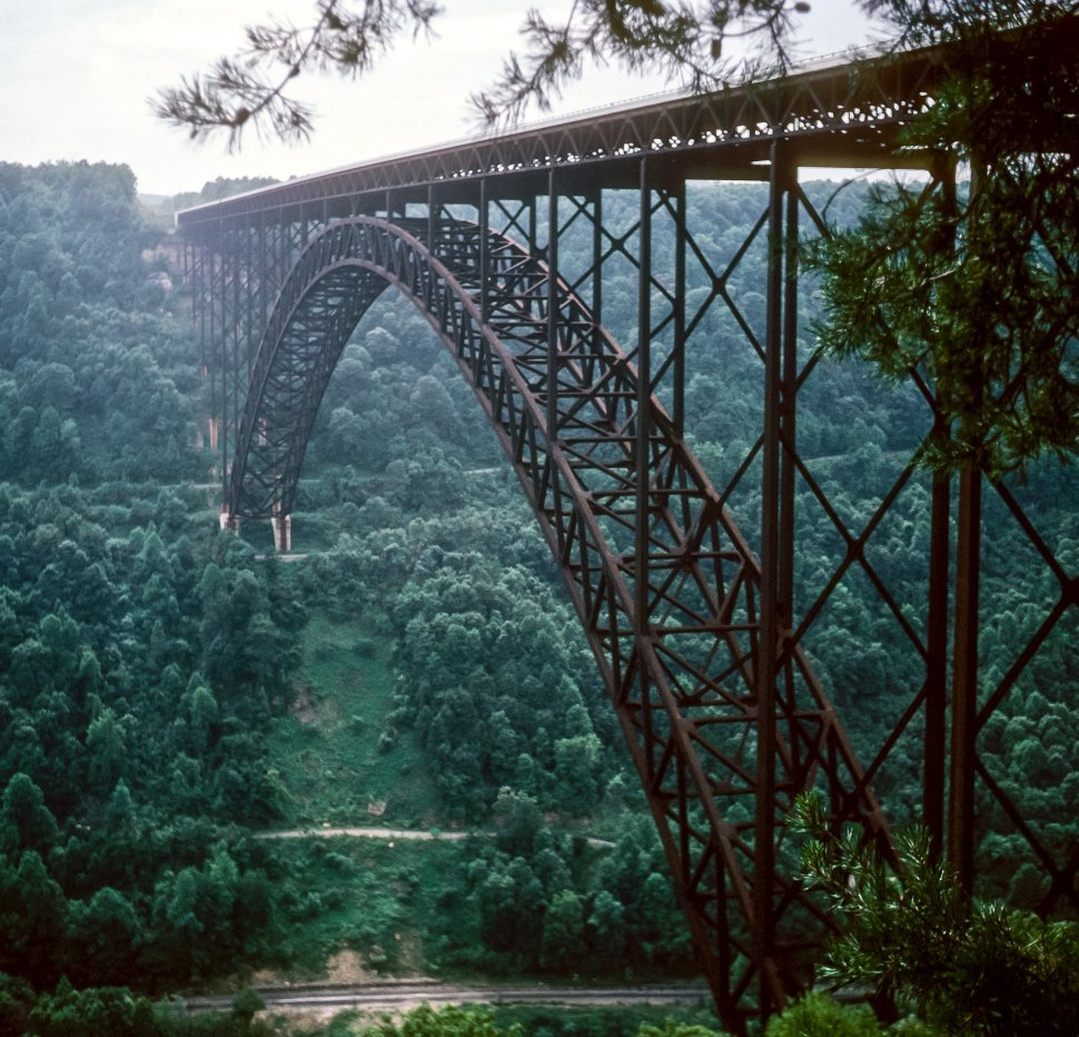 Free image of New River Gorge Bridge and lush vegetation, West Virginia USA