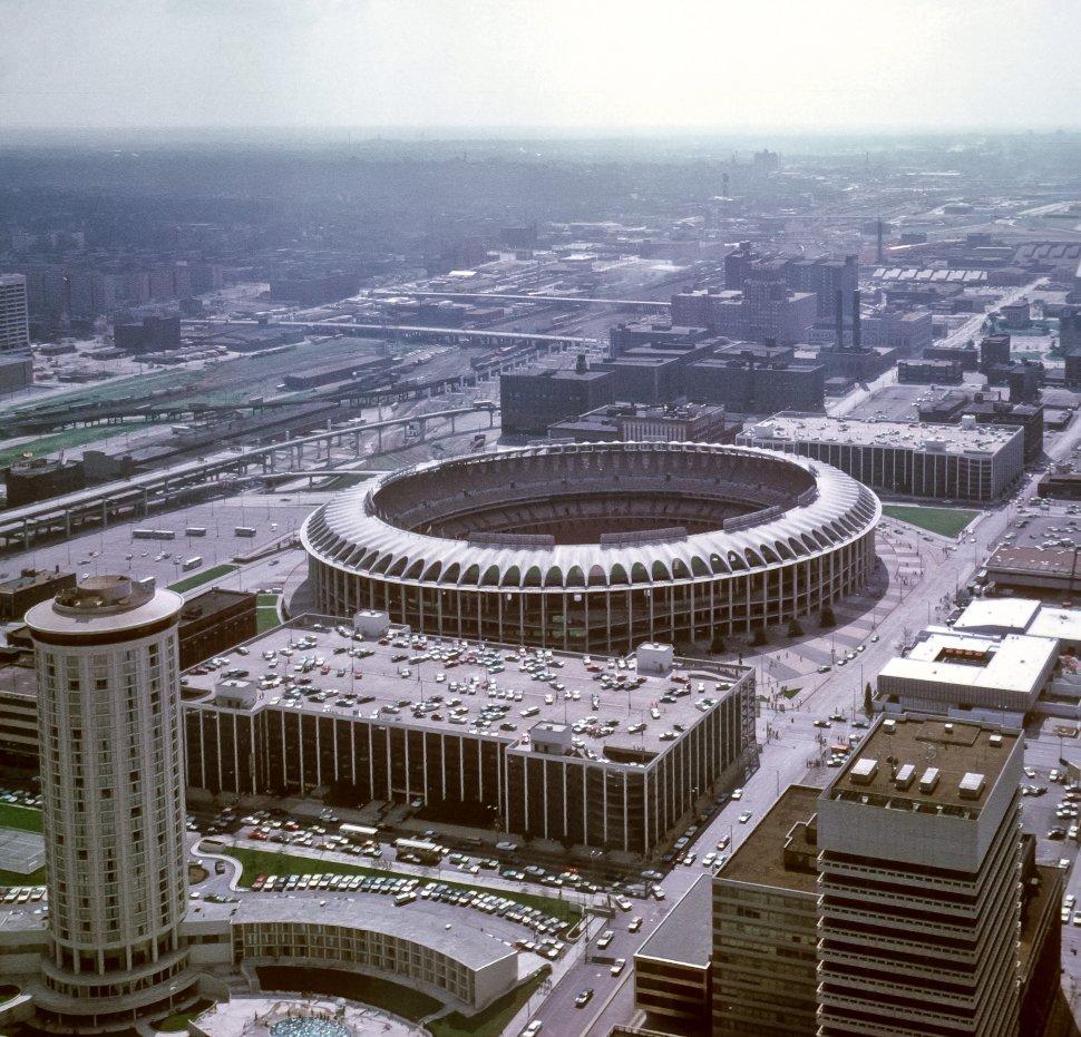 Free image of Aerial view of Busch Stadium exterior, St. Louis, Missouri, USA