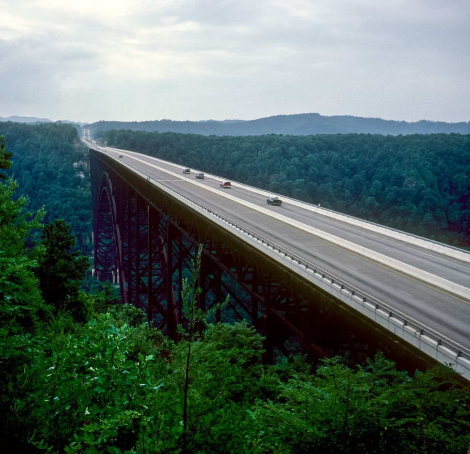 Free image of Cars driving across New River Gorge Bridge, West Virginia, USA