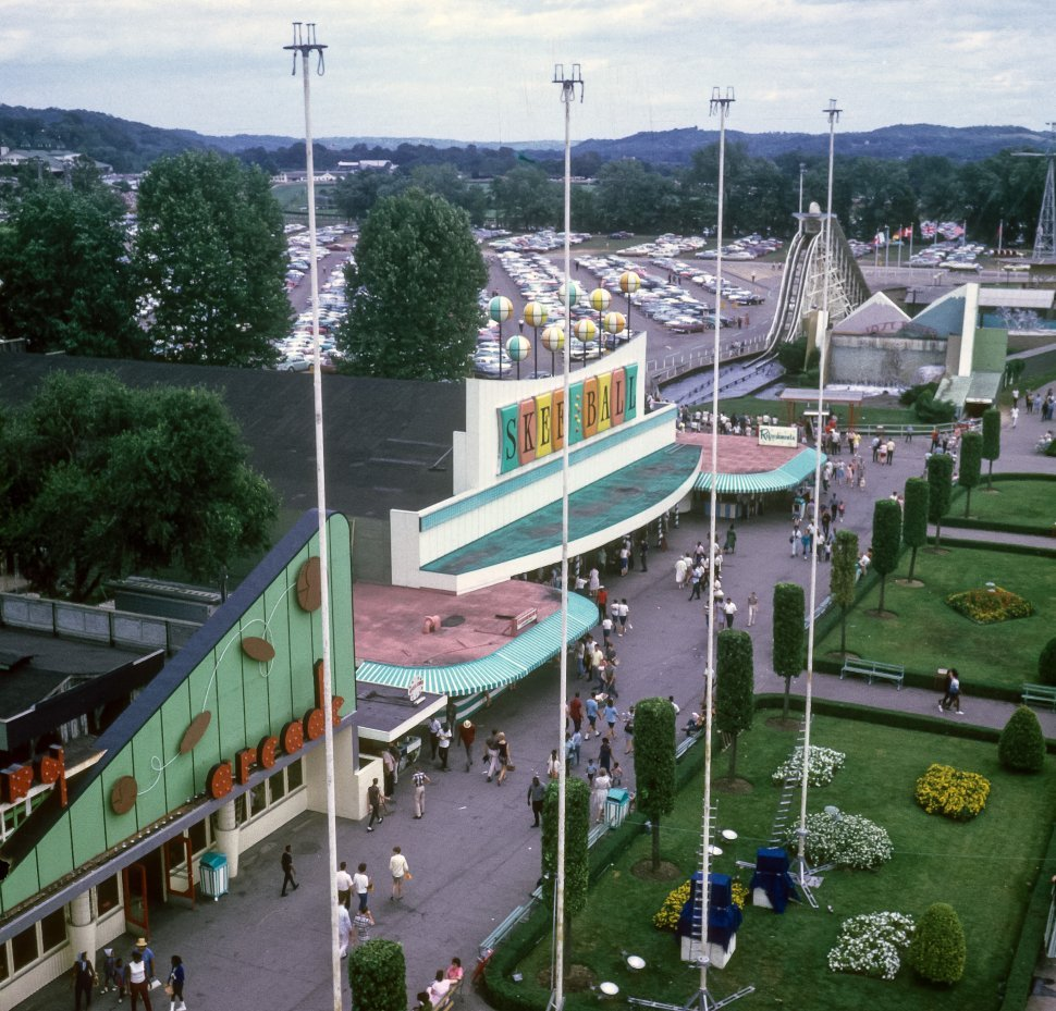 Free image of Aerial view of an amusement park.
