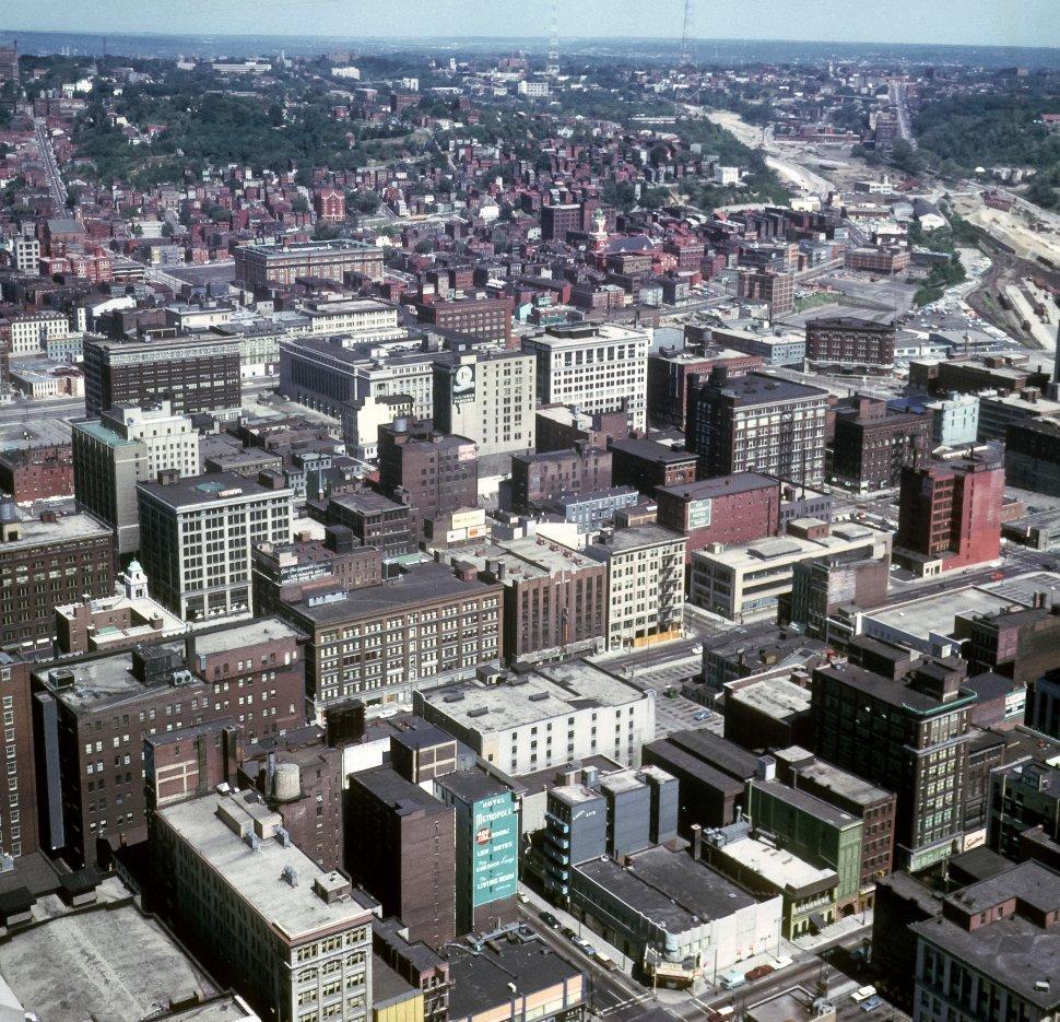 Free image of Aerial view of Cincinnati, Ohio skyline and skyscrapers.