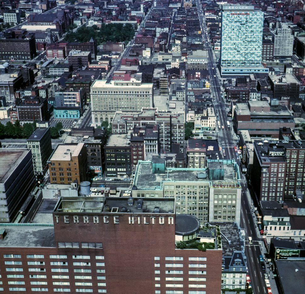 Free image of Aerial view of a Cincinnati, Ohio city streets, skyline and skyscrapers.