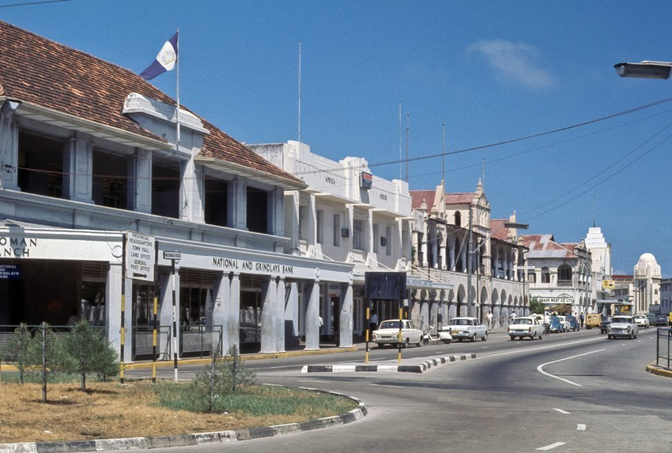 Free image of City street with official buildings line the coast, Kenya, Africa