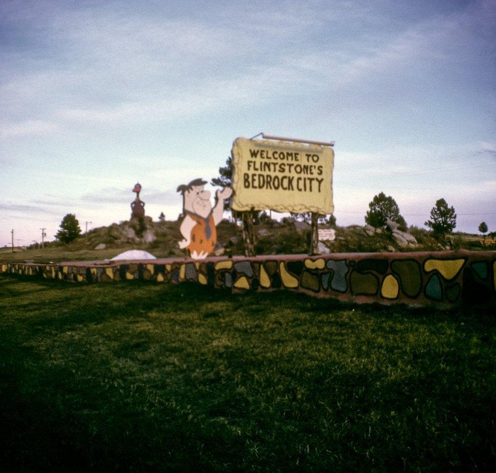 Free image of Sign for Flinstone s Bedrock City, Williams, Arizona, USA