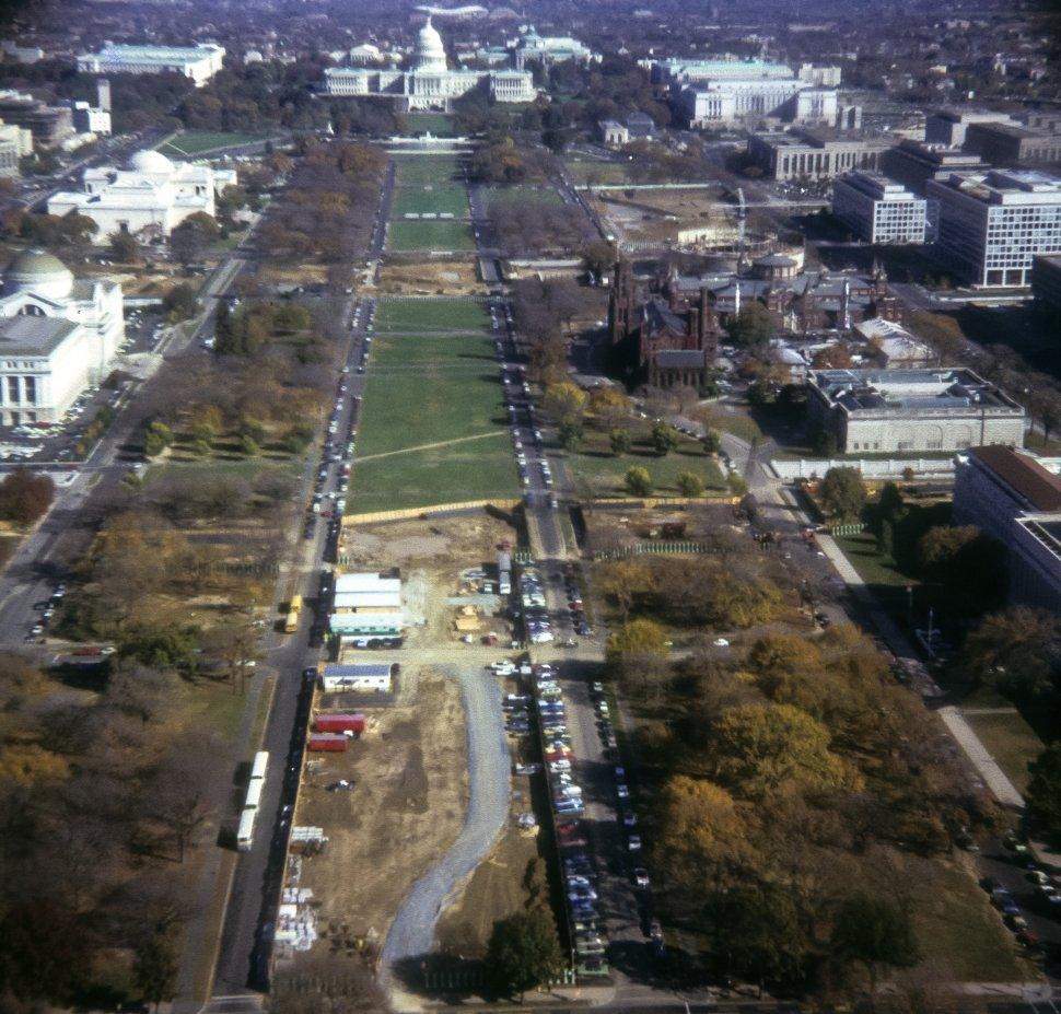 Free image of Aerial view of the Washington Mall under construction, seen from Washington Monument, Washington D.C., USA