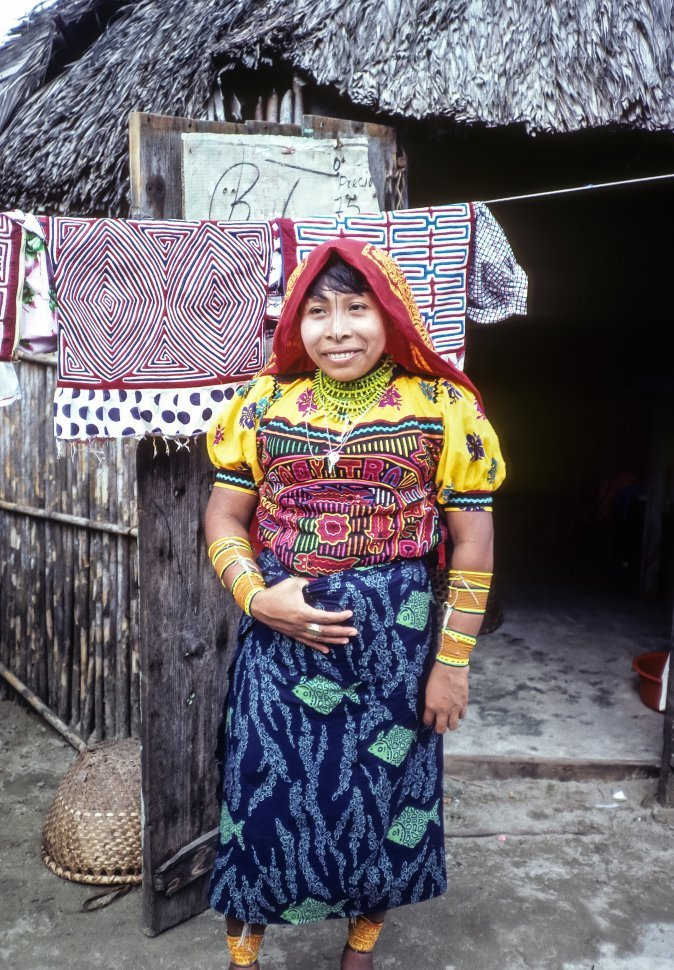 Free image of Ecuadorian woman posing for a photograph in traditional clothing, Ecuador
