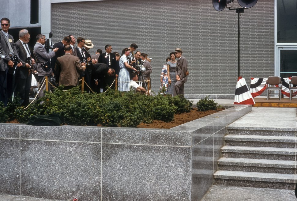 Free image of Crowd and press waiting at dedication of the Moses-Saunders Dam on June 27, 1959, St. Lawrence River, New York, USA