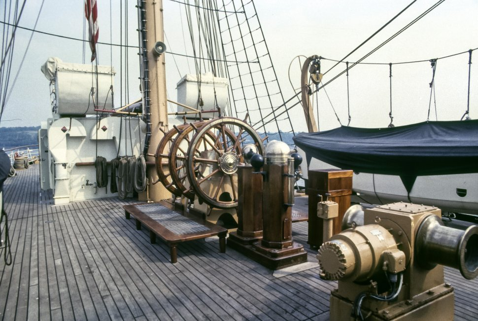 Free image of Deck of a sailboat and bow.