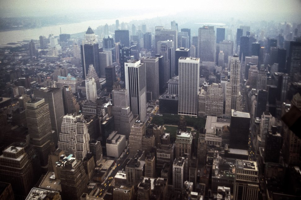 Free image of Aerial view of Manhattan city streets and skyscrapers, New York, New York, USA