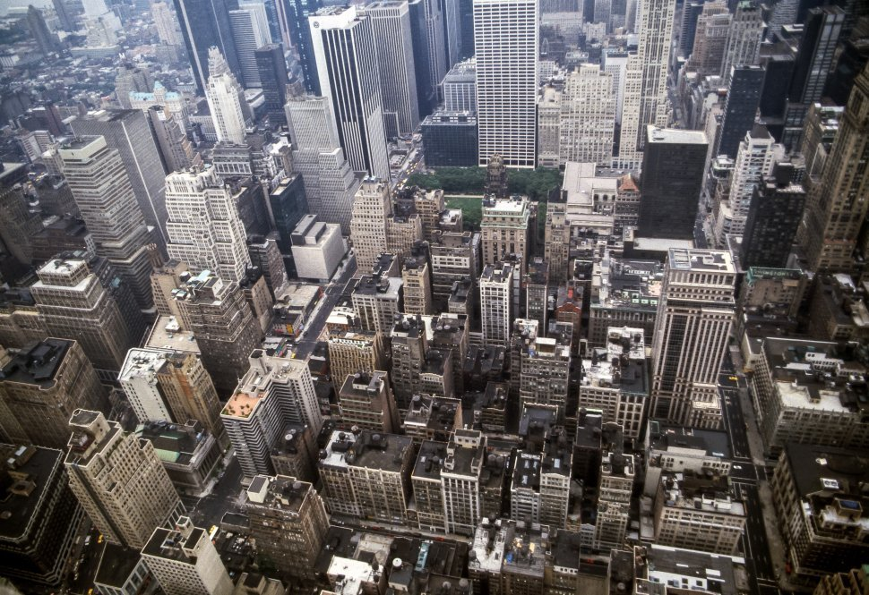 Free image of Aerial view of Manhattan city streets, rooftops and skyscrapers, New York, New York, USA