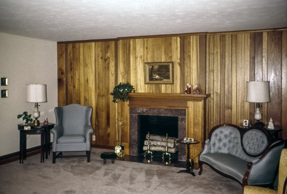 Free image of Suburban living room with furniture and fireplace, USA