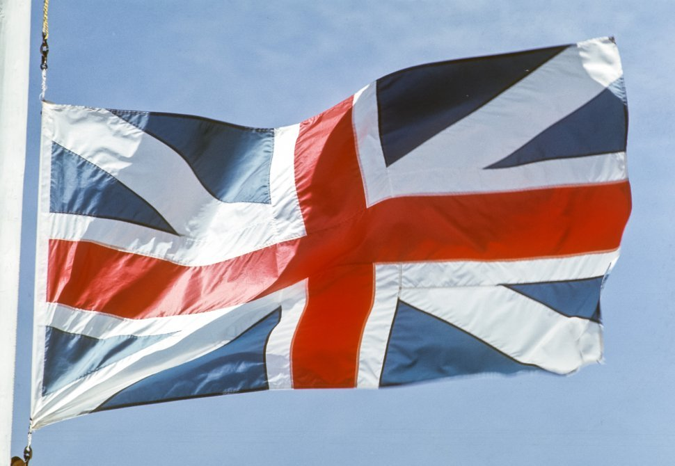 Free image of Close up of a British flag waving in the wind.
