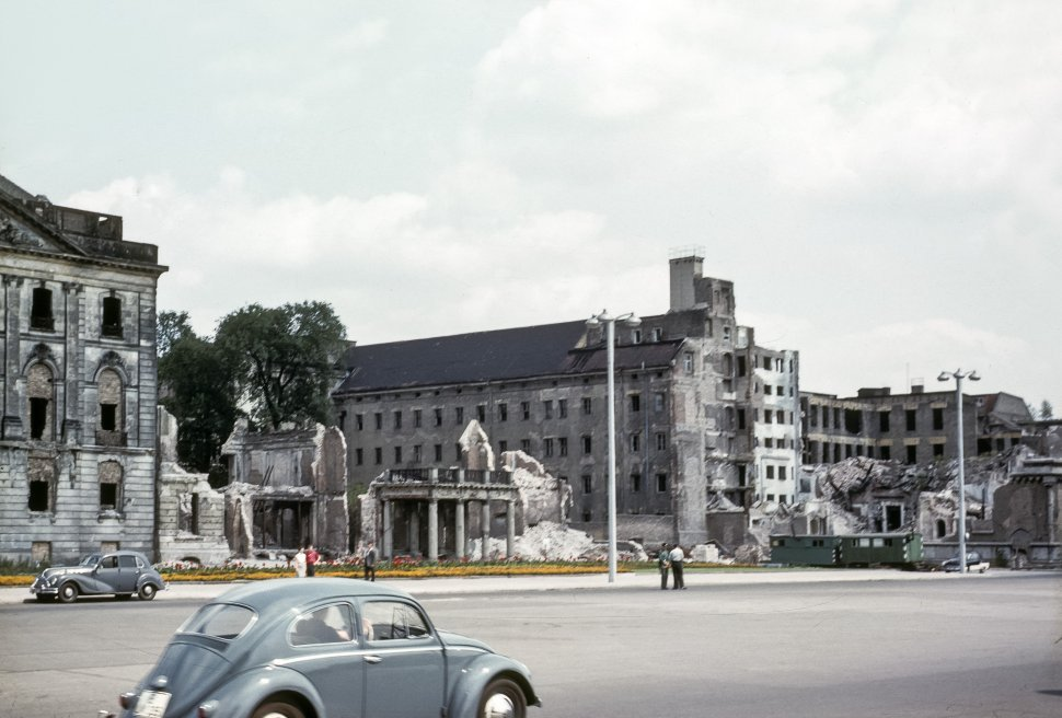 Free image of Bombed out buildings and cars driving by, Germany.