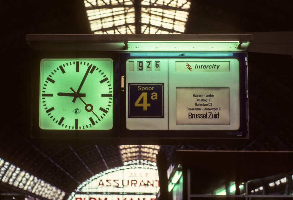 Free image of Station clock hanging from ceiling, Amsterdam, The Netherlands