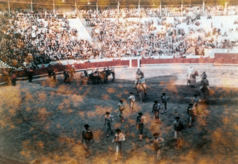 Free image of Aerial view of crowd and performers in a bullfighting ring, Mexico