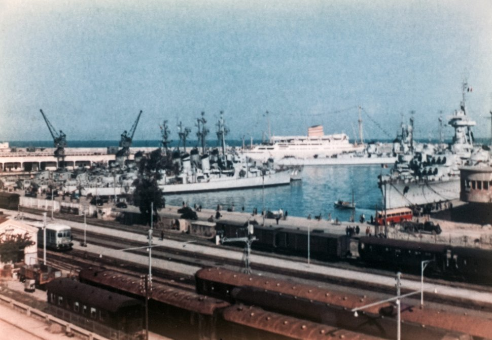 Free image of Aerial view of ships docked in a crowded harbor.