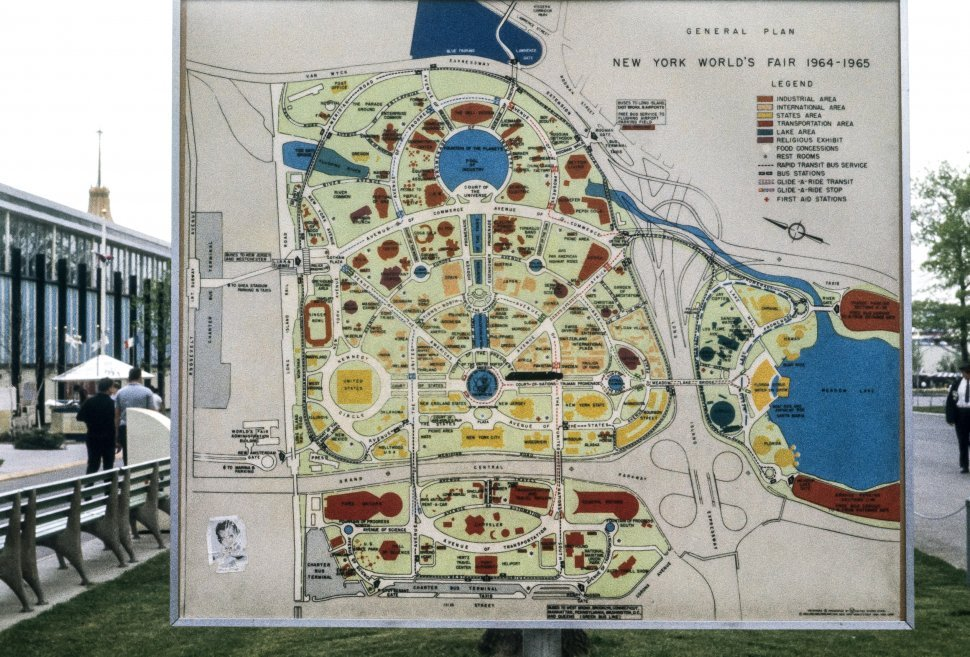 Free image of Map of the New York World s Fair park and tourists, New York, New York, USA