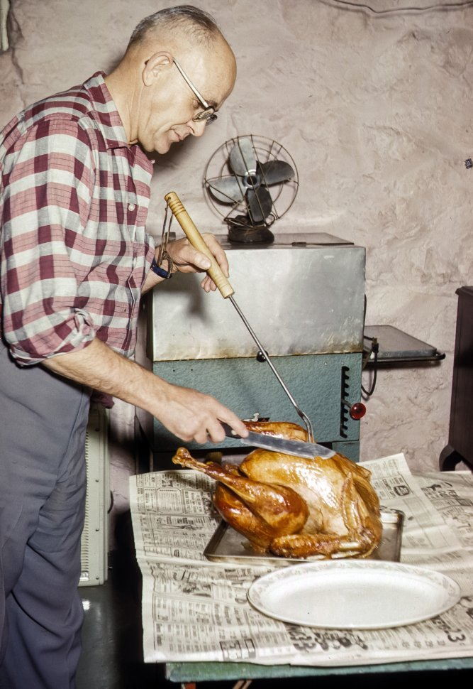 Free image of Man carving a Christmas turkey, USA