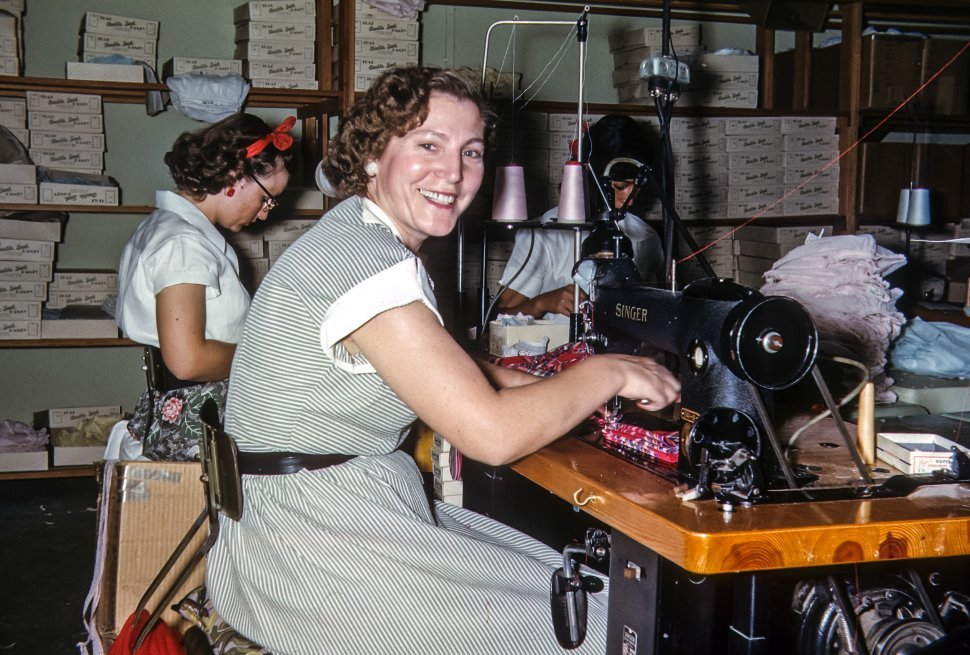 Free image of Portrait of a seamstress at her machine, USA