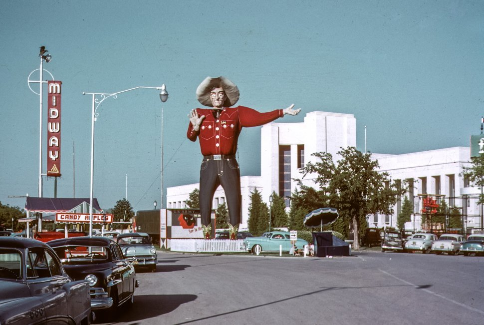 Free image of Big Tex figure standing above the Texas State Fair entrance, Texas, USA