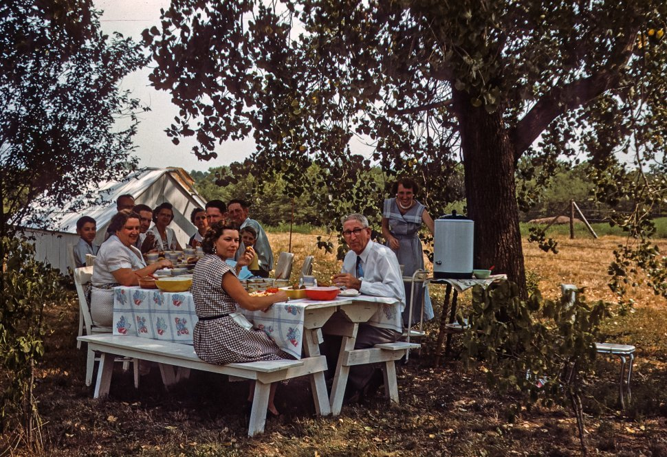 Free image of Family enjoying a picnic at a table in a meadow, USA