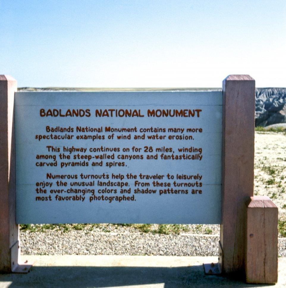Free image of Badlands National Monument sign, South Dakota, USA