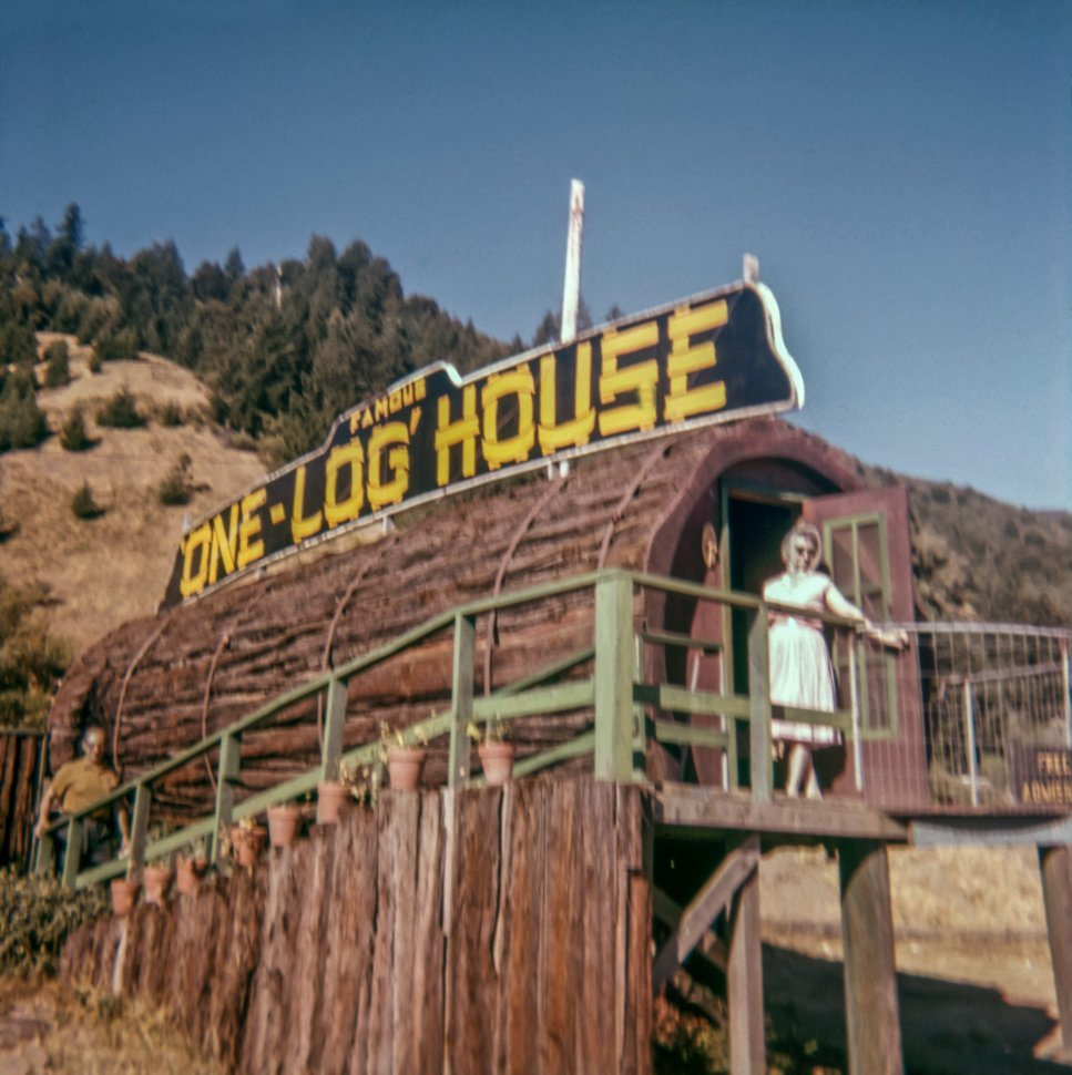Free image of Woman posing outside the entrance to the One Log House, Humbolt, California, USA