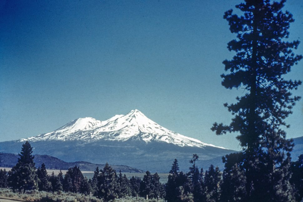 Free image of Distant Mt. Shasta covered in show.