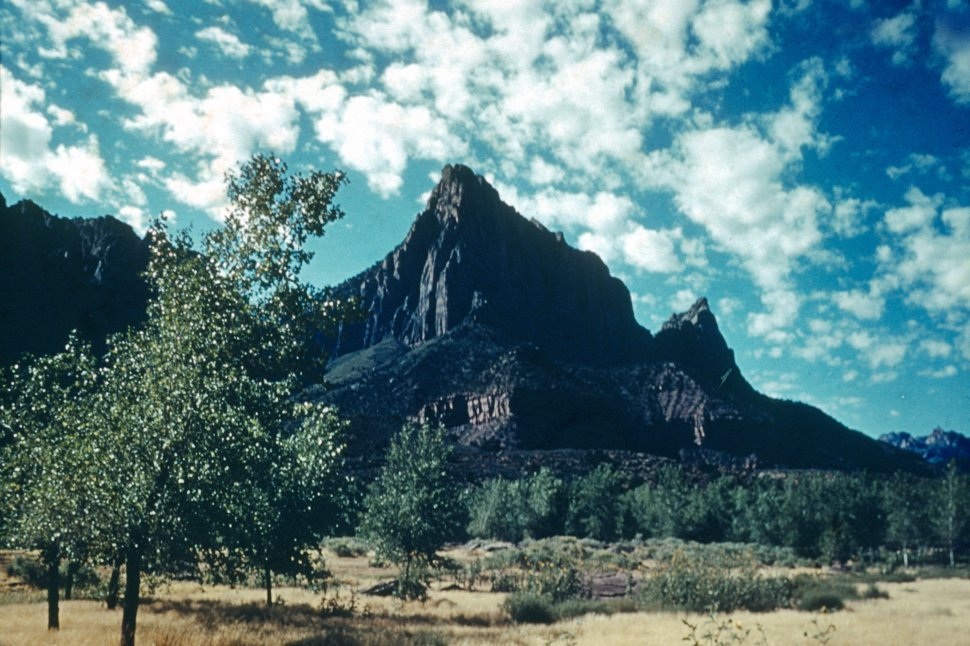 Free image of Wilderness with jagged formation called The Watchman, Zion, Utah, USA
