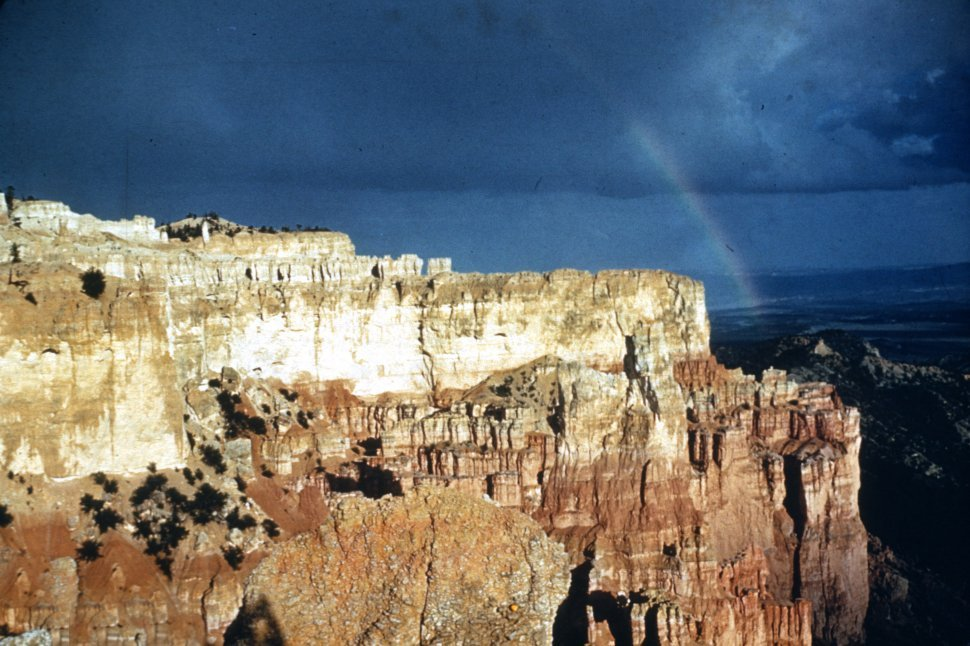 Free image of Rainbow over a rock formation in Bryce Canyon, Utah, USA