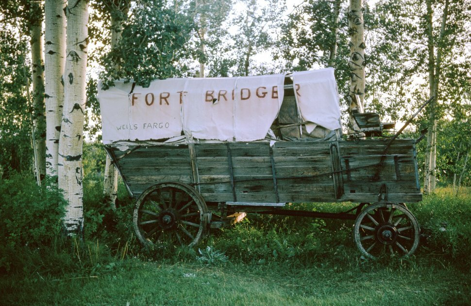 Free image of Historic wagon at Fort Bridger State Historic Site,