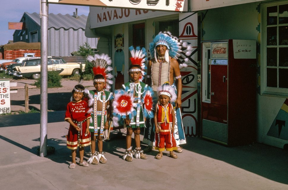 Free image of Native American family in traditional garb