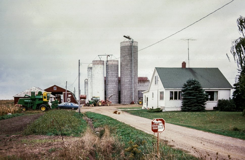 Free image of Small farm with grain silos and equipment