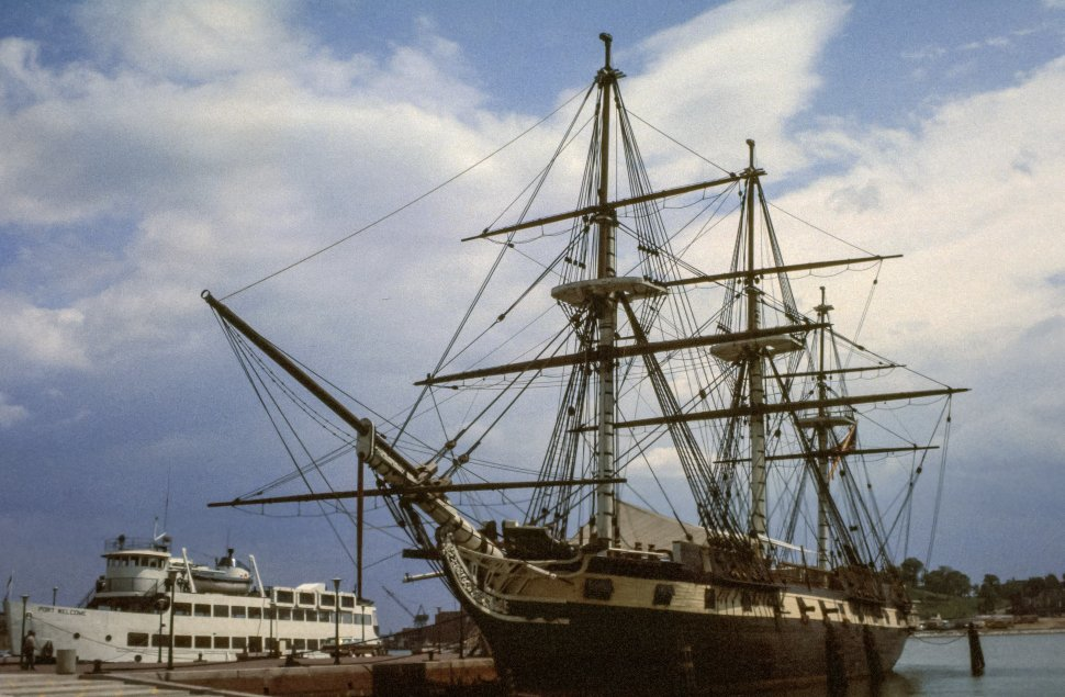 Free image of Sailing ship and ferry at the dock
